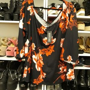 Pink Clove NWT Red Black Floral blouse 26w